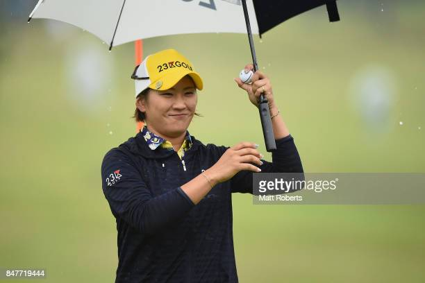 Misuzu Narita of Japan reacts after her putt on the 18th green during the second round of the Munsingwear Ladies Tokai Classic 2017 at the Shin...