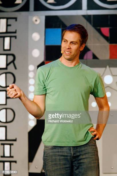Mitch Baker of Backpack Picnic performs during the Sketch Show at the 2008 'Just For Laughs' Comedy Festival on July 16 2008 in Montreal Canada