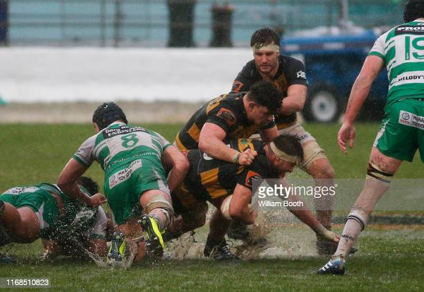 Mitch Brown of Taranaki carries the ball during the round 2 Mitre 10 Cup match between Manawatu and Taranaki at Central Energy Trust Arena on August...