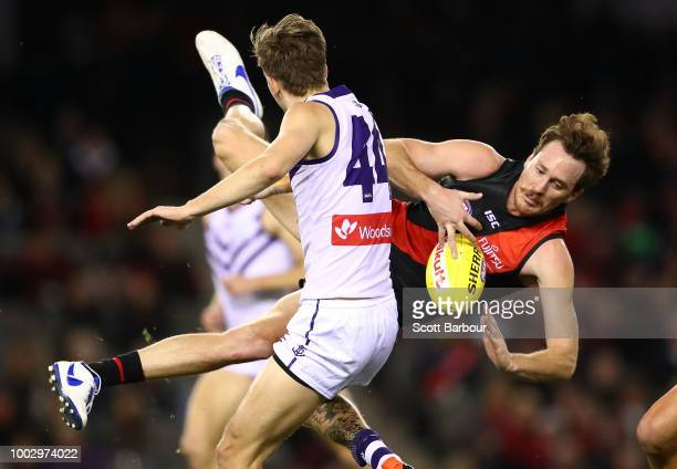 Michael Walters of the Dockers celebrates after kicking a goal during the round 18 AFL match between the Essendon Bombers and the Fremantle Dockers...