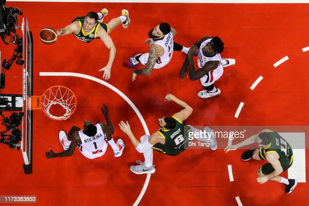 Mitch Creek of Australia drives during 2nd round Group L match between Australia and France of 2019 FIBA World Cup at Nanjing Youth Olympic Sports...