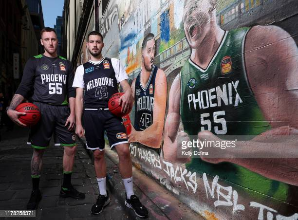 Mitch Creek of South East Melbourne Phoenix and Chris Goulding of Melbourne United pose for a portrait during a Melbourne NBL Throwdown Media...