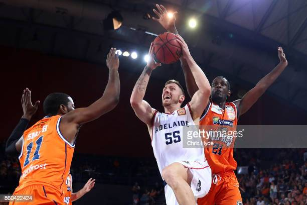 Mitch Creek of the 36ers drives to the basket during the round two NBL match between the Cairns Taipans and the Adelaide 36ers at Cairns Convention...