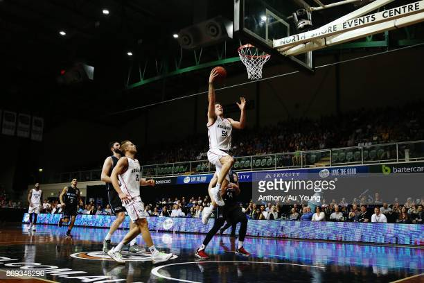Mitch Creek of the 36ers scores on the break during the round five NBL match between the New Zealand Breakers and the Adelaide 36ers at North Shore...