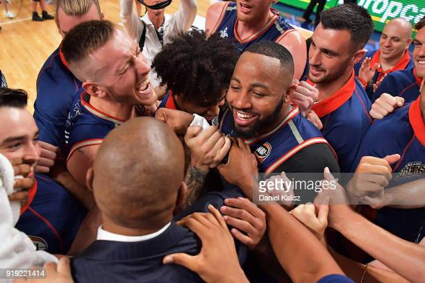 Mitch Creek of the Adelaide 36ers and Shannon Shorter of the Adelaide 36ers celebrate during the round 19 NBL match between the Adelaide 36ers and...
