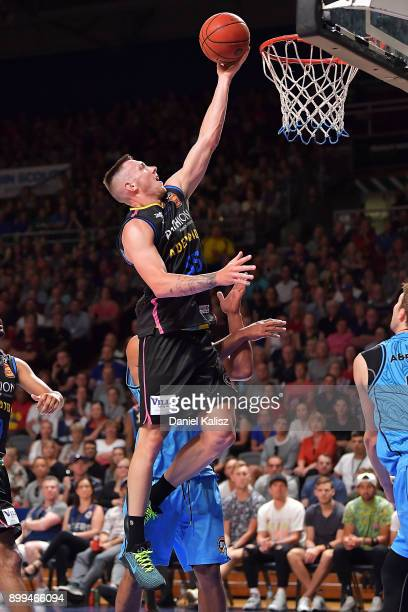 Mitch Creek of the Adelaide 36ers drives to the basket during the round 12 NBL match between the Adelaide 36ers and the New Zealand Breakers at...