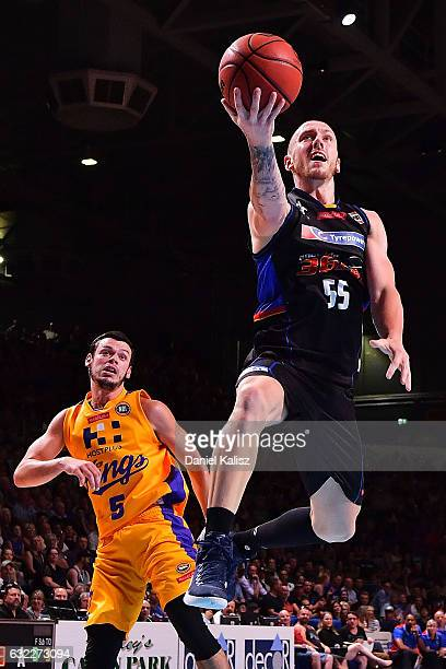 Mitch Creek of the Adelaide 36ers drives to the basket during the round 16 NBL match between the Adelaide 36ers and the Sydney Kings at Titanium...
