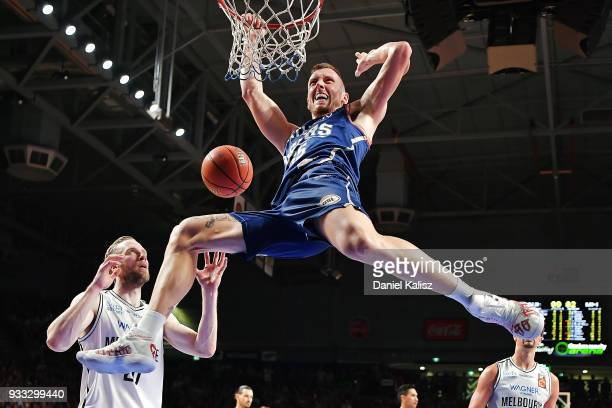Mitch Creek of the Adelaide 36ers dunks during game two of the NBL Grand Final series between the Adelaide 36ers and Melbourne United at Titanium...