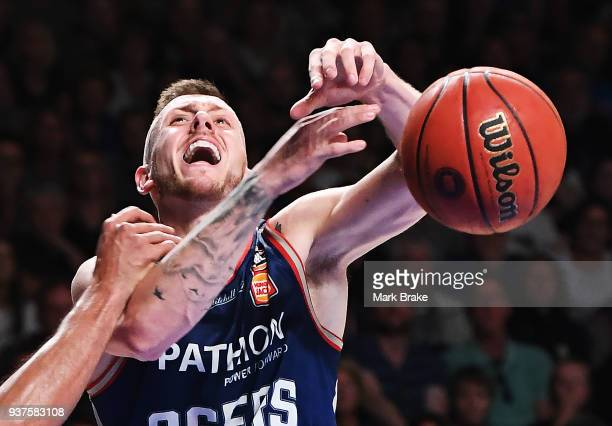 Mitch Creek of the Adelaide 36ers gets fouled during game four of the NBL Grand Final series between the Adelaide 36ers and Melbourne United at...