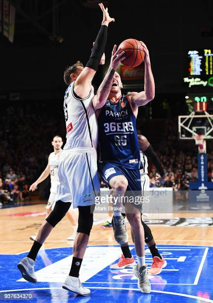 Mitch Creek of the Adelaide 36ers heads for a layup during game four of the NBL Grand Final series between the Adelaide 36ers and Melbourne United at...