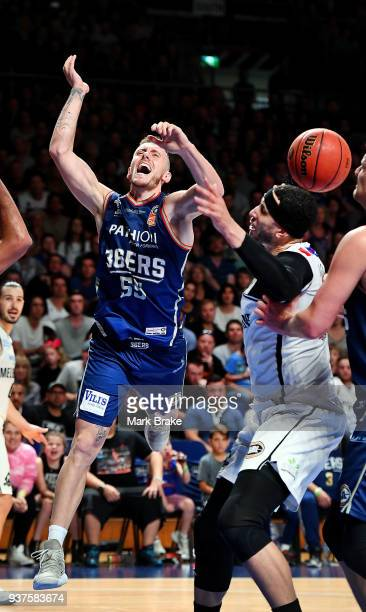 Mitch Creek of the Adelaide 36ers is fouled during game four of the NBL Grand Final series between the Adelaide 36ers and Melbourne United at...
