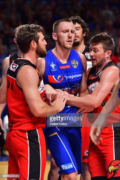 Mitch Creek of the Adelaide 36ers reacts during the game one NBL Semi Final between Adelaide and Illawarra at Titanium Security Arena on February 16...