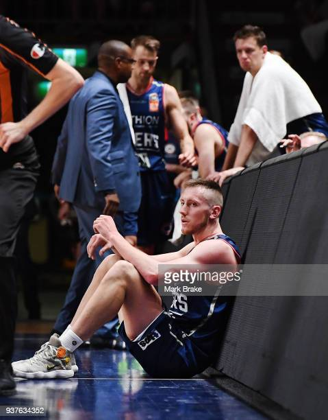 Mitch Creek of the Adelaide 36ers rests during game four of the NBL Grand Final series between the Adelaide 36ers and Melbourne United at Priceline...