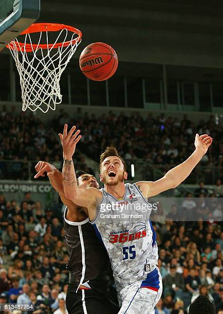 Mitch Creek of the Adelaide 36ers shoots during the round one NBL match between Melbourne United and Adelaide 36ers at Hisense Arena on October 9...