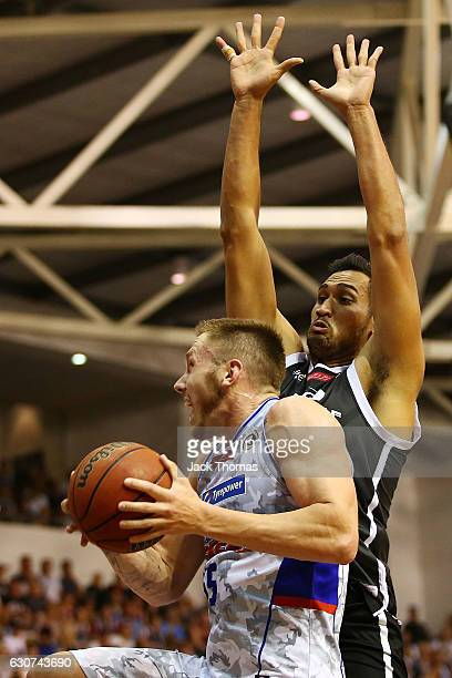 Mitch Creek of the Adelaide 36ers shoots the ball during the round 13 NBL match between Melbourne and Adelaide on January 1 2017 in Melbourne...