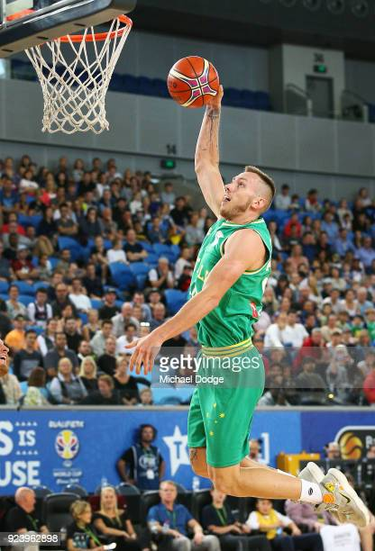 Mitch Creek of the Boomers slam dunks during the FIBA World Cup Qualifying match between the Australian Boomers and Chinese Taipei at Margaret Court...