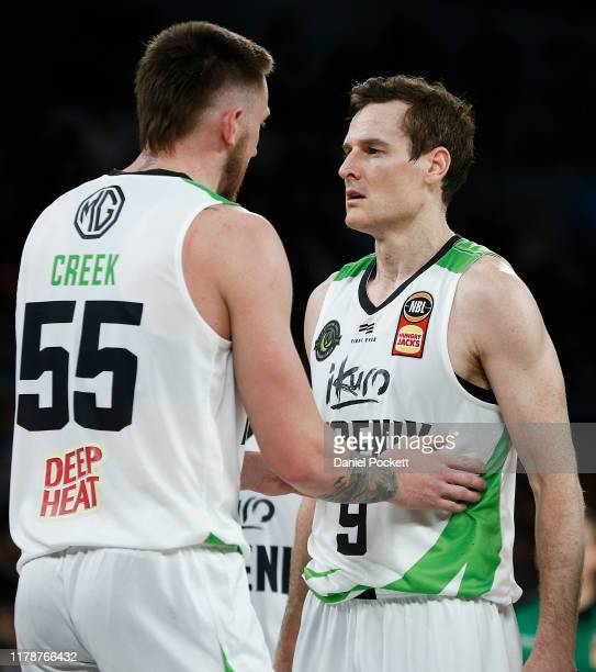 Mitch Creek of the Phoenix speaks with Ben Madgen of the Phoenix during the round one NBL match between Melbourne United and the South East Melbourne...