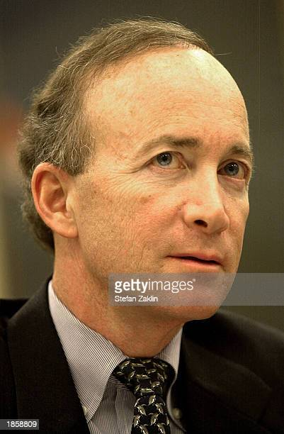 Mitch Daniels, director of the Office of Management and Budget , speaks on Capitol Hill March 19, 2003 in Washington, D.C. Daniels testified before...