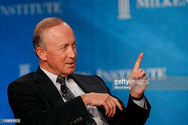 Mitch Daniels, governor of Indiana, speaks at the annual Milken Institute Global Conference in Beverly Hills, California, U.S., on Tuesday, May 1,...
