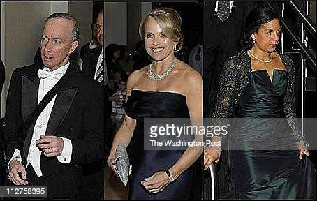 Mitch Daniels left Katie Couric and UN Ambassador Susan Rice arrives for the Gridiron Dinner at the Renaissance Hotel in Washington DC on March 12...