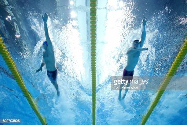 Mitch D'Arrigo and Jack Conger compete in a Men's 200 LC Meter Freestyle heat race during the 2017 Phillips 66 National Championships World...