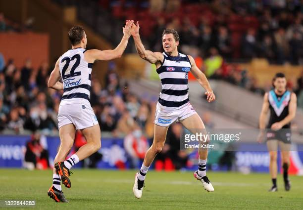 Mitch Duncan of the Cats and Isaac Smith of the Cats celebrate during the round 13 AFL match between the Port Adelaide Power and the Geelong Cats at...