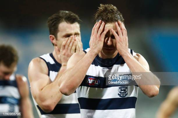 Mitch Duncan of the Cats and Patrick Dangerfield of the Cats look dejected after losing the round 3 AFL match between the Geelong Cats and the...