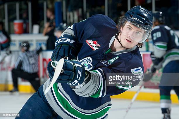 Mitch Elliot of the Seattle Thunderbirds takes a shot during warm up against the Kelowna Rockets on February 10 2014 at Prospera Place in Kelowna...