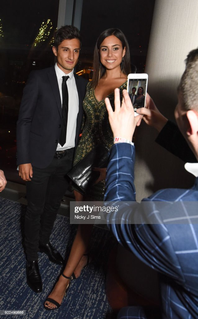 Mitch Evans and Nina Dreier attend The BRIT Awards 2018 after-party, hosted by Tempus magazine, at The Intercontinental Hotel, The o2, on February 21, 2018 in London, England.