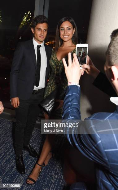 Mitch Evans and Nina Dreier attend The BRIT Awards 2018 afterparty hosted by Tempus magazine at The Intercontinental Hotel The o2 on February 21 2018...