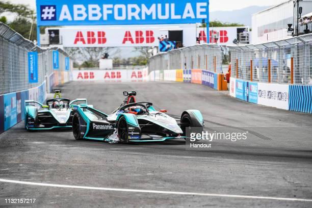 Mitch Evans Panasonic Jaguar Racing Jaguar IType 3 leads Nelson Piquet Jr Panasonic Jaguar Racing Jaguar IType 3 during the 2019 Sanya EPrix as part...
