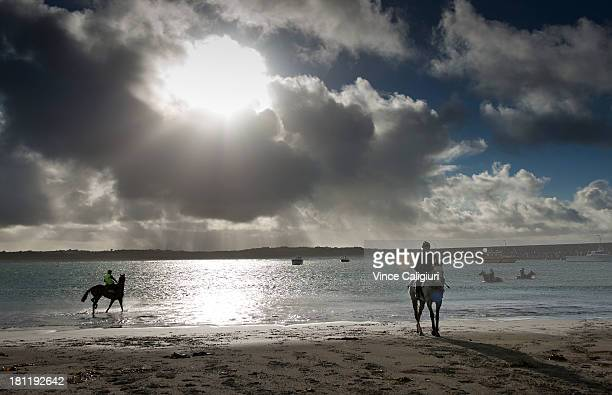 Mitch Freedman riding Melbourne Cup favourite Puissance de Lune after a trackwork session at Lady Bay beach on September 20 2013 in Warrnambool...
