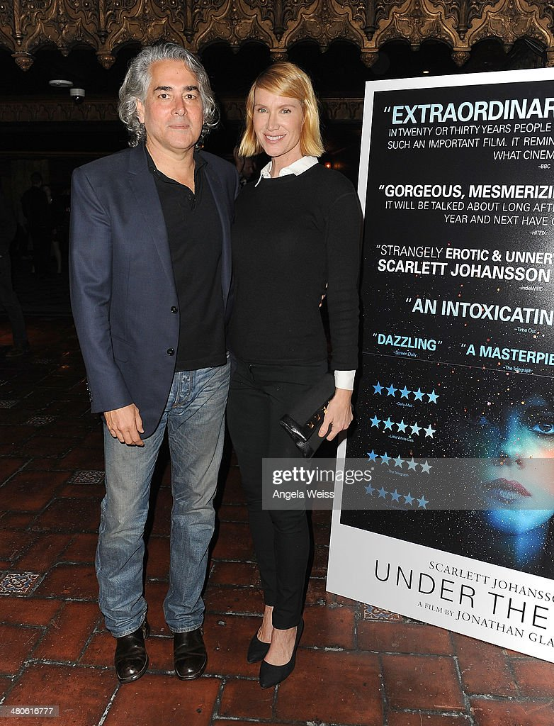 Mitch Glazer and actress Kelly Lynch attend the premiere of A24's 'Under The Skin' at The Theatre At Ace Hotel on March 25, 2014 in Los Angeles, California.