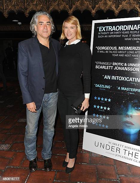 Mitch Glazer and actress Kelly Lynch attend the premiere of A24's Under The Skin at The Theatre At Ace Hotel on March 25 2014 in Los Angeles...
