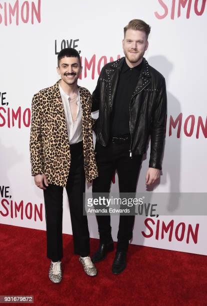 Mitch Grassi and Scott Hoying arrive at the 'Love Simon' special screening and performance at Westfield Century City on March 13 2018 in Century City...