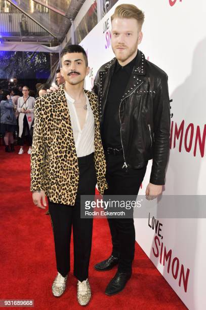 Mitch Grassi and Scott Hoying attend a special screening of 20th Century Fox's 'Love Simon' at Westfield Century City on March 13 2018 in Los Angeles...