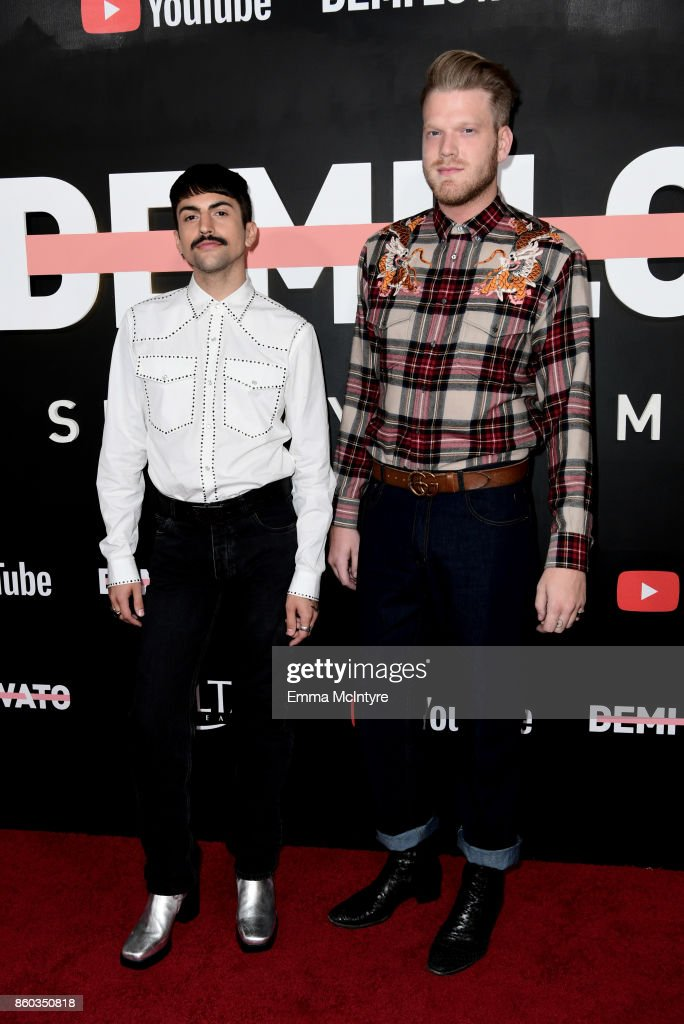 Mitch Grassi (L) and Scott Hoying attend the 'Demi Lovato: Simply Complicated' YouTube premiere at The Fonda Theatre on October 11, 2017 in Los Angeles, California.