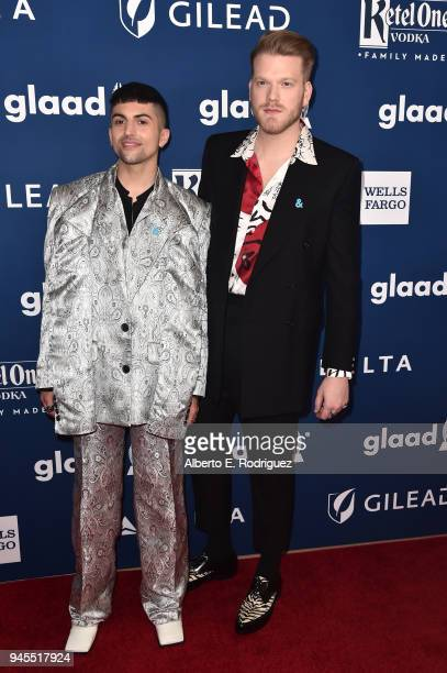 Mitch Grassi and Scott Hoying of Superfruit attend the 29th Annual GLAAD Media Awards at The Beverly Hilton Hotel on April 12 2018 in Beverly Hills...