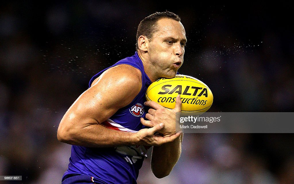Mitch Hahn of the Bulldogs marks on a lead during the round five AFL match between the Western Bulldogs and the Adelaide Crows at Etihad Stadium on April 23, 2010 in Melbourne, Australia.