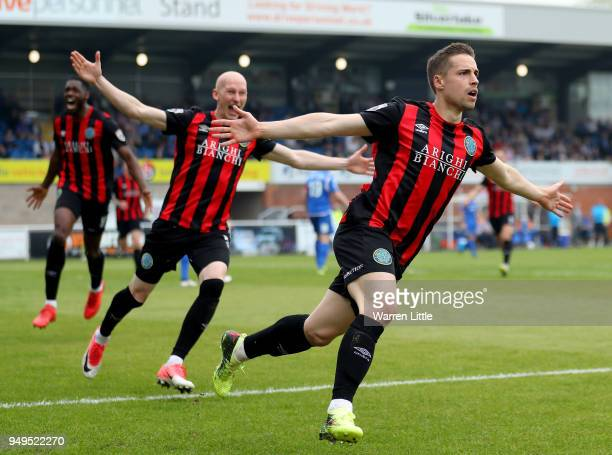 Mitch Hancox of Macclesfield Town celebrates scoring their second goal during the Vanarama National League match between Eastleigh and Macclesfield...