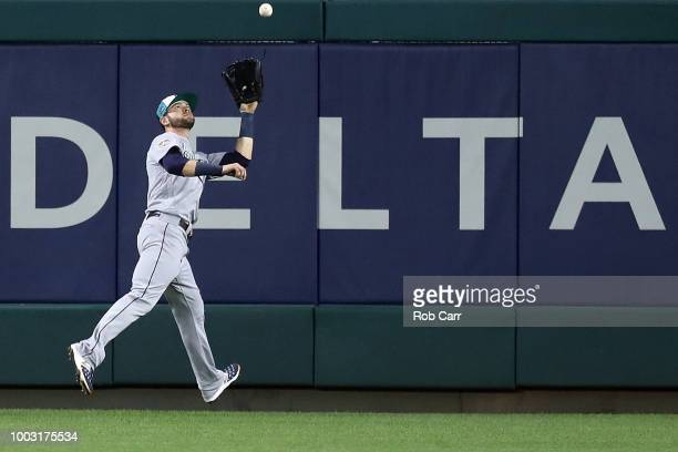 Mitch Haniger of the Seattle Mariners and the American League makes a play during the 89th MLB AllStar Game presented by Mastercard at Nationals Park...