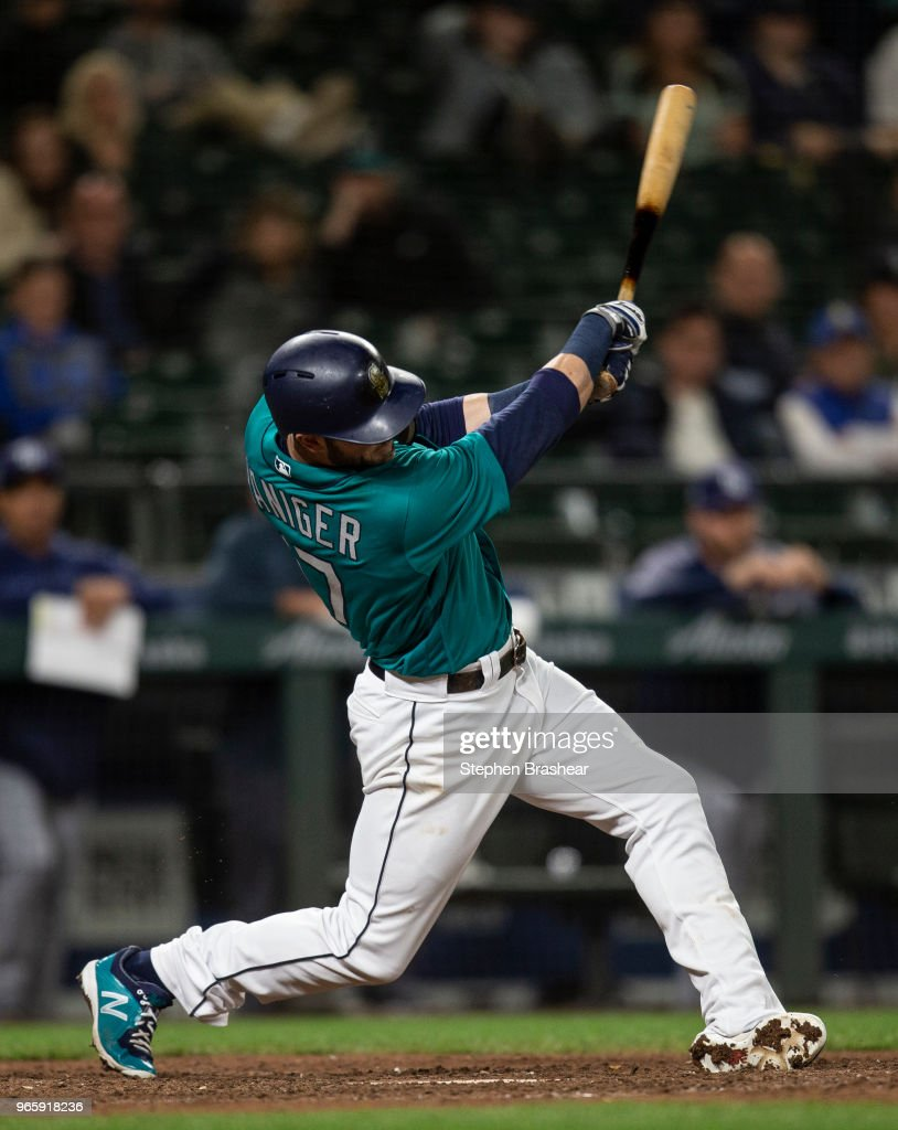 Mitch Haniger #17 of the Seattle Mariners hits a walkoff solo home run off of relief pitcher Matt Andriese #35 of the Tampa Bay Rays during the thirteenth inning of a game at Safeco Field on June 1, 2018 in Seattle, Washington. The Mariners won 4-3 in thirteen innings.
