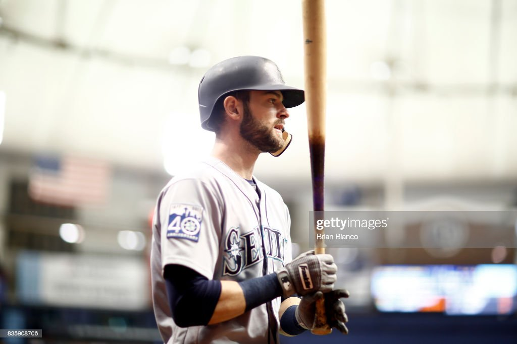 Mitch Haniger #17 of the Seattle Mariners makes his way out of the dugout to bat against pitcher Blake Snell of the Tampa Bay Rays during the fifth inning of a game on August 20, 2017 at Tropicana Field in St. Petersburg, Florida.