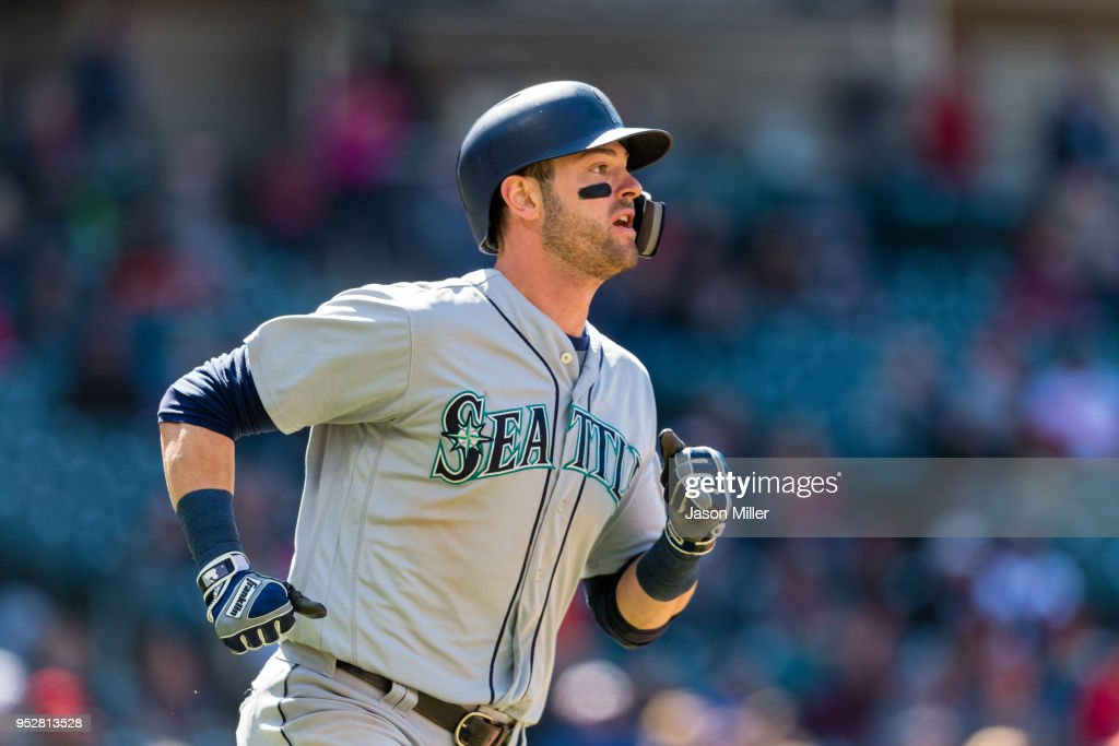 Mitch Haniger #17 of the Seattle Mariners runs out a triple during the eighth inning against the Cleveland Indians at Progressive Field on April 29, 2018 in Cleveland, Ohio.