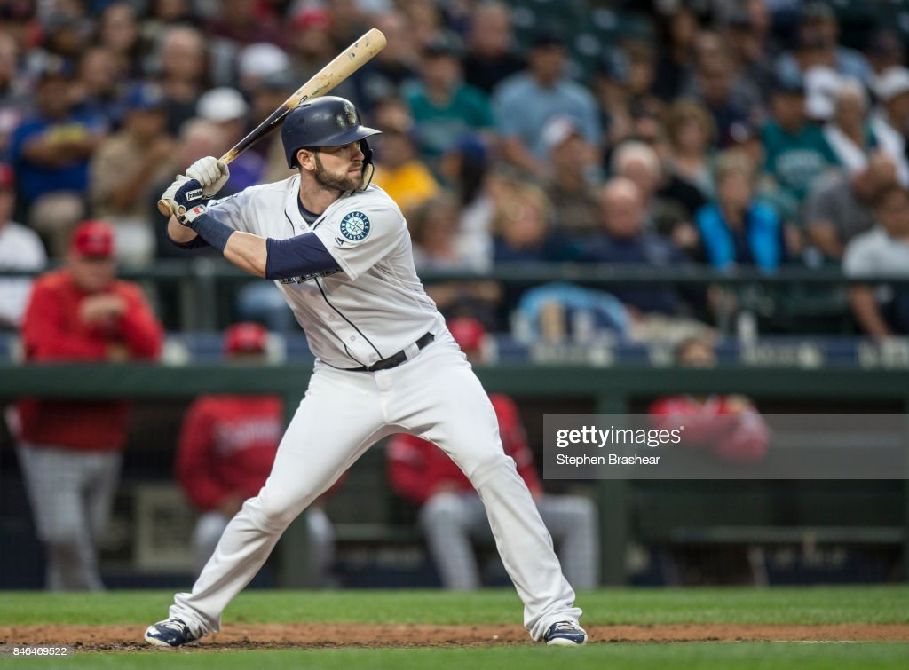Mitch Haniger #17 of the Seattle Mariners waits for a pitch during an at-bat in a game against the Los Angeles Angels of Anaheim at Safeco Field on September 9, 2017 in Seattle, Washington. The Mariners won the game 8-1.