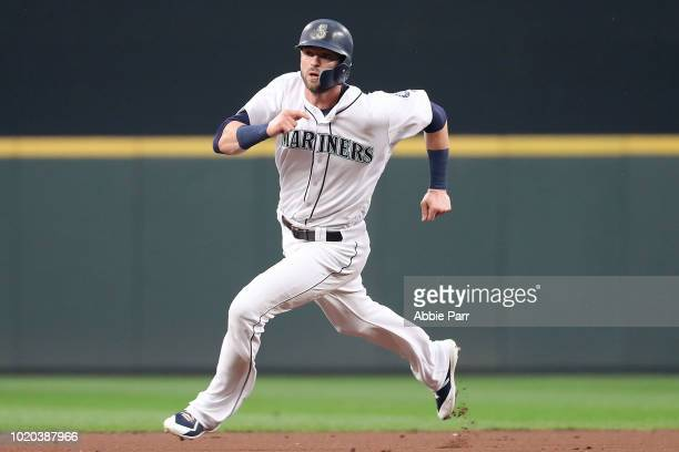 Edwin Diaz of the Seattle Mariners celebrates a 74 win against the Houston Astros during their game at Safeco Field on August 20 2018 in Seattle...