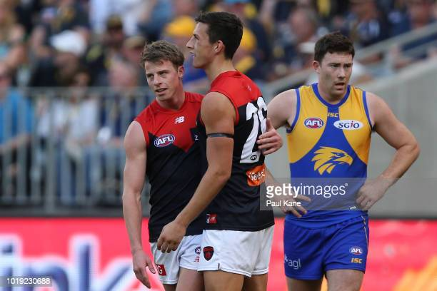 Mitch Hannan and Sam Weideman of the Demons celebrate a goal during the round 22 AFL match between the West Coast Eagles and Melbourne Demons at...