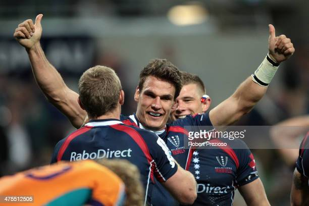 Mitch Inman of the Rebels celebrates after Bryce Hegarty of the Rebels crossed the line to score a try during the round three Super Rugby match...
