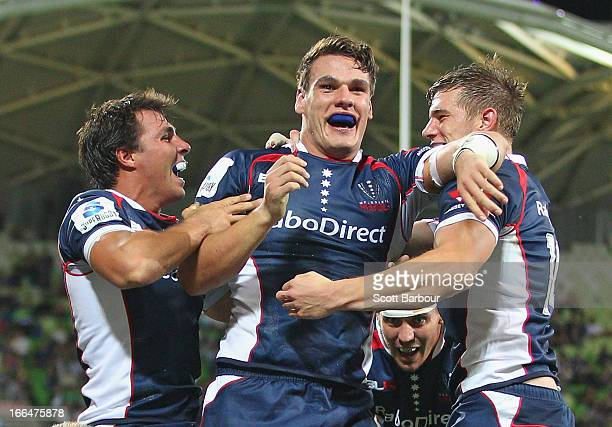 Mitch Inman of the Rebels celebrates after scoring a try during the round nine Super Rugby match between the Rebels and the Kings at AAMI Park on...