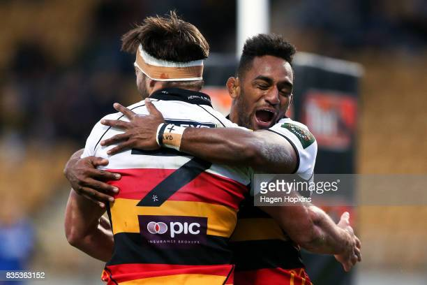 Mitch Jacobson of Waikato celebrates his try with Sevu Reece during the round one Mitre 10 Cup match between Taranaki and Waikato at Yarrow Stadium...